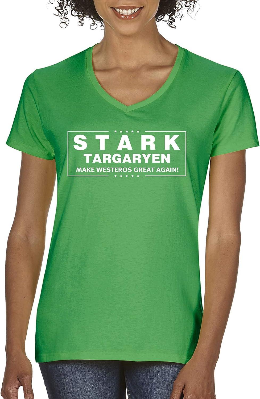 Trendy USA 775  Women's VNeck TShirt Stark Targaryen Game of Thrones Election
