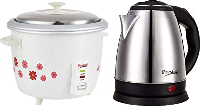 Prestige PRWO 1.8-2 700-Watts Delight Electric Rice Cooker with 2 Aluminium Cooking Pans and Electric Kettle PKOSS - 1500watts, Steel (1.5Ltr), Black Combo