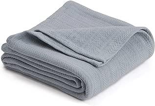 Homvare Full/Queen Super Soft Cotton Herringbone Weave Blanket/Throw Grey 90