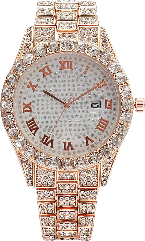 Reloj Mujer Oro Acero Inoxidable Impermeable Relojes Mujer Esfera de Diamante Minimalista Analógicos Relojes de Pulsera Niña Casual Elegante Clásico