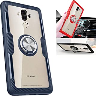 Huawei Mate 9 Transparent Case,360° Rotating Ring Kickstand Protective Case,TPU+PC Shock Absorption Double Protection Cove...