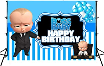 Photo Backgrounds, Boss Baby Theme Backdrops, Vinyl Blue White Balloons Stripes Happy Birthday Party Banner Photographic Studio Background 7X5ft