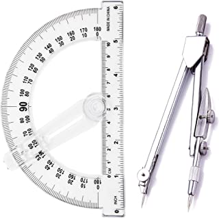 PenVinoo Geometry School Set,with Quality Compass, Protractor,Drawing Compass Math Geometry Tools (Silver)
