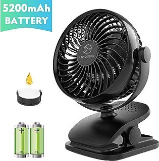 LEMOISTAR Battery Operated Clip on Stroller Fan(5200mAh), Rechargeable Battery/USB Powered Desk Fan Small Portable Personal Fan for Baby Stroller, Office, Home, Dorm, Camping etc