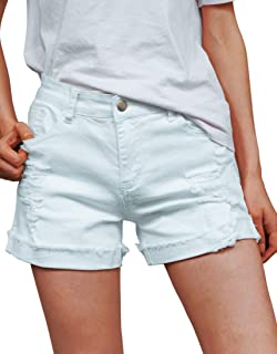 Women's Ripped Rolled Cuff Mid Rise Stretchy Denim Jeans...