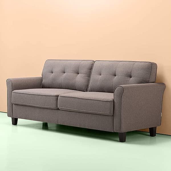 Zinus Sayan 传统软垫 78 7 英寸沙发沙发双人沙发沙灰