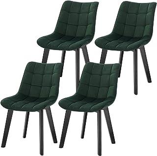 Lestarain Pquete de 4 Dining Chairs Sillas de Comedor Sillas Tapizadas en Terciopelo Sillas Cocina Nórdicas Sillas Bar Madera Silla de Oficina Verde Oscuro