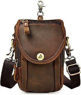 Le'aokuu Bolso táctico de hombres bolsa al aire libre Bolso de cadera Cinturón bolso de cintura Paquete de cintura de Fanny Bolsa de viaje Bolsa de mensajero cuero de vaca 269 (269 A marrón)