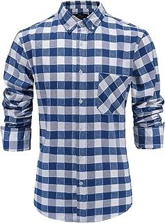 Men's Flannel 100% Cotton Slim Fit Long Sleeve Button-Down Plaid Dress Shirt