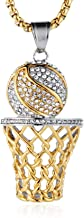 HZMAN Mens 18k Gold Silver Plated Basketball Rim CZ Inlay Pendant Hip Hop Box Chain