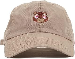 Bear Embroidered Washed Cap Unisex Cotton Cap Adjustable Plain Hat