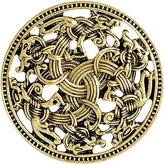 QIHOO Norse Medieval Viking Shield Symbol Brooch Celtic Norse Vintage Jewelry