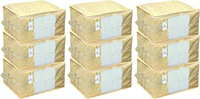 Kuber Industries Underbed Storage Bag,Storage Organiser,Blanket Cover Set of 9 Pc - Gold, Extra Large Size,CTKNEW234