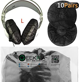 Geekria ヘッドホンカバー (10ペア) 不織布 防塵 AKG K701 Q701 Sennheiser HD900 HD800 HD650 Beyerdynamics DT880 等大型 ヘッドホン 用 ブラック