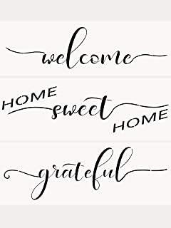 AZDIY Reusable Stencil Set – Home Sweet Home, Welcome, Grateful Stencils – Word..