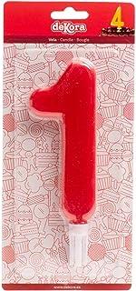 Dekora - Vela de Cumpleaños Gigantes Número 1 de Color Rojo
