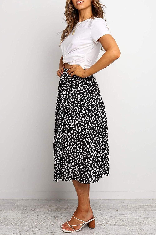 MEROKEETY Women's Boho Leopard Print Skirt Pleated A Line Swing Midi Skirts