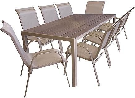 Incroyable Multistore 2002 9er Gartengarnitur Aluminium Gartentisch Mit  Polywood Tischplatte, 205x90cm, Stapelstuhl Pulverbeschichtet Mit
