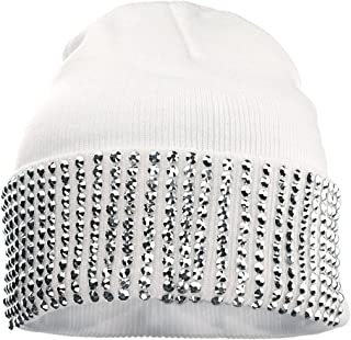 NYFASHION101 Solid Color Rhinestone Studded Retro Winter Warm Cuff Skull Ski Cap Beanie Hat
