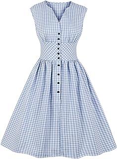 BiilyLi Donna 1950 Audrey Hepbun retrò Elegante Abbottonare Vestito Rockabilly Cocktail Abito Anni'50 Swing 1950s Partito ...