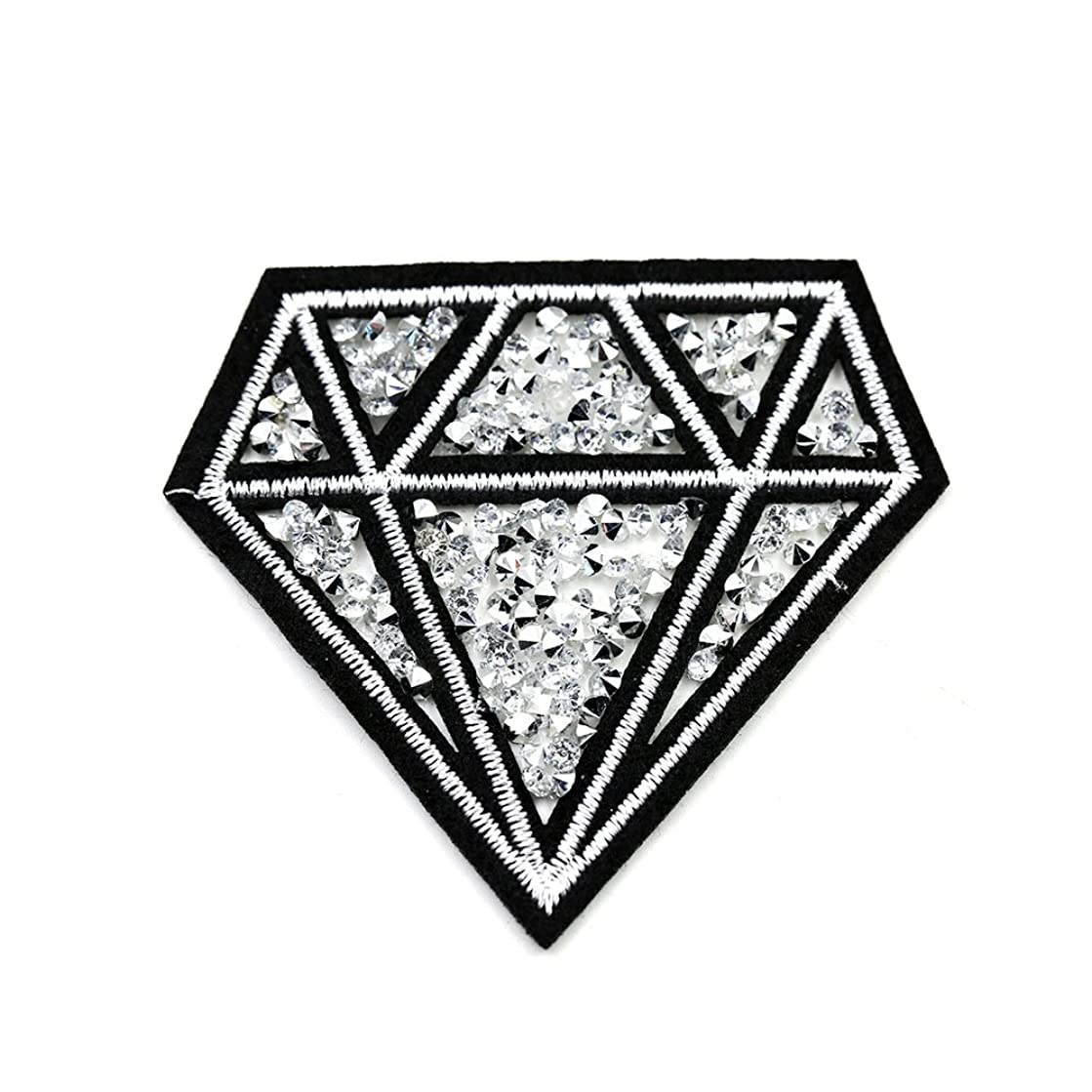 Riverbyland Iron On Patches with Hot Fix Rhinestone Diamond Pack of 5