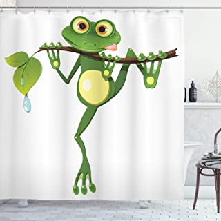 Ambesonne Animal Shower Curtain, Little Frog on Branch of The Tree in Rainforest Nature Jungle Life Art Earth, Cloth Fabric Bathroom Decor Set with Hooks, 75