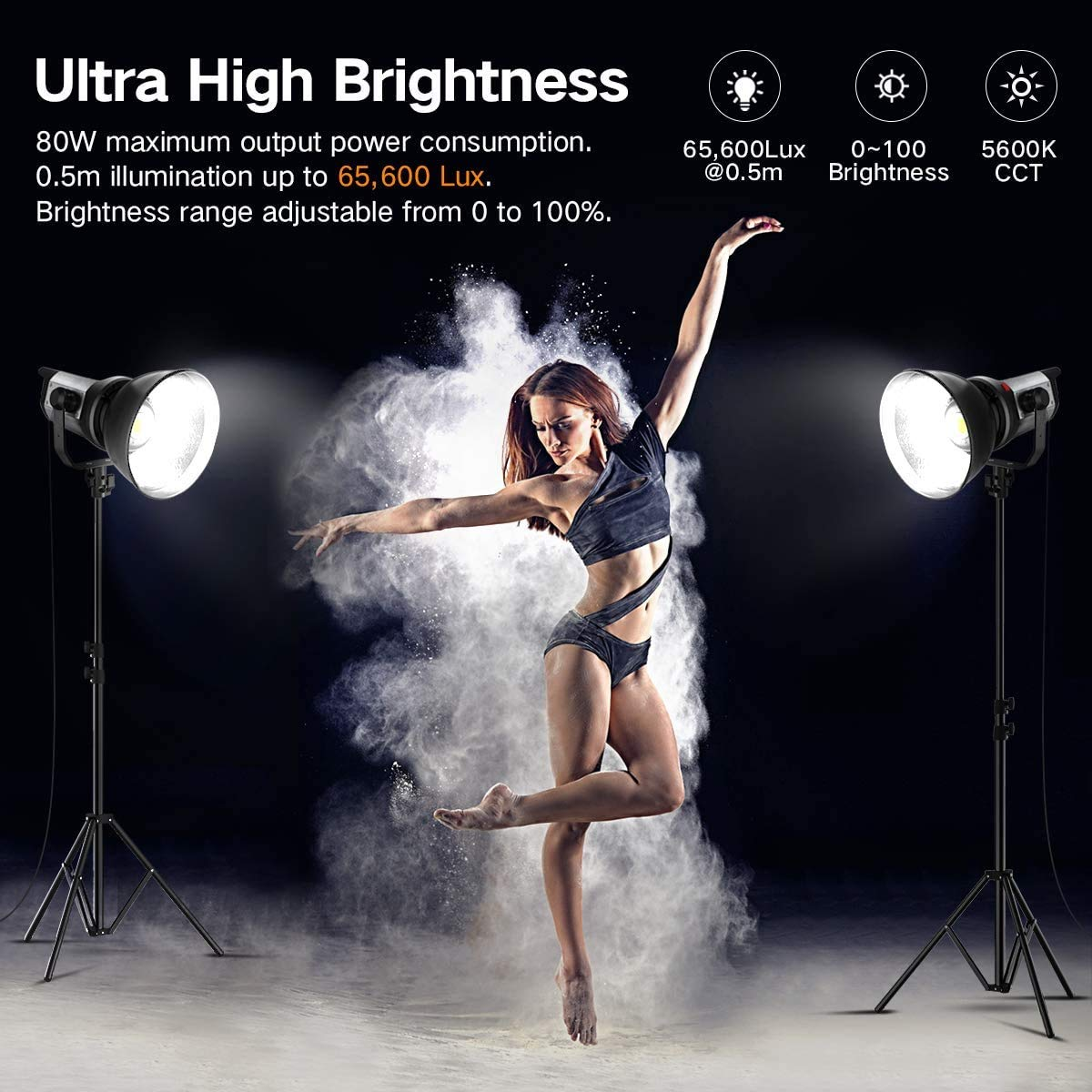 Bowens Mount Light Remote Control for YouTube Vlog Portrait Photography Lighting Studio Pixel 80W Continuous Output Lighting 5600K Daylight Balanced Dimmable LED Video Lamp Offers High Brightness
