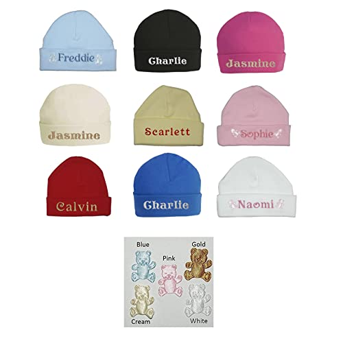 ac6a402b7e6 100% Super Soft Double Layered Cotton Personalised Embroidered Baby Hat -  Available in sizes 0