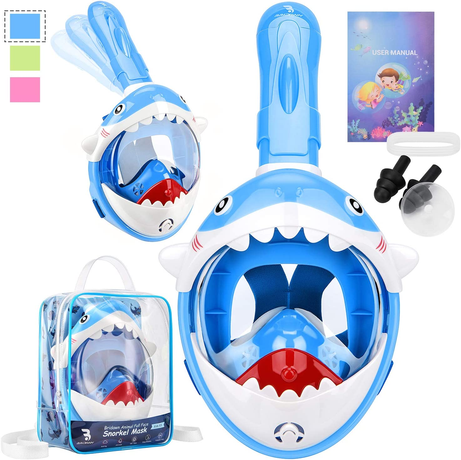 bridawn Snorkel Mask Full Face Kids Cute Design with Portable Backpack Underwater Scuba Swimming Masks Easy Breathe Anti-Fog Anti-Leak Foldable Dry Top Breathing Tube 180 Panoramic View Snorkeling Set