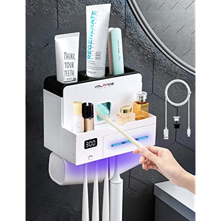 Toothbrush Holder Wall-mounted   Stand Toothpaste Rinse Cup Holder Bathroom C1V0