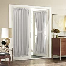 Aquazolax Patio Door Curtain Panel Room Darkening Blackout Curtain Drapes 54 x 72 Inch with Rod Pocket for French Door - Single Panel, Greyish White