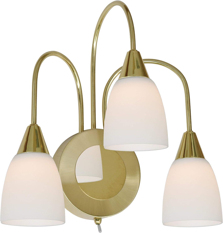WOFI LED Casa Wandleuchte, Metall, Glas, 5 W, Messing-matt