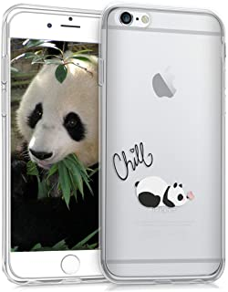 kwmobile TPU Silicone Case for Apple iPhone 6 / 6S - Crystal Clear Smartphone Back Case Protective Cover - Chill Panda Black/White/Transparent
