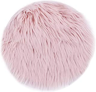 Pink Soft Faux Fur Wool Living Room Sofa Carpet Plush Carpets Bedroom Cover Mattress Xmas Door Window Round Rugs Carpets,Pink,50X50CM