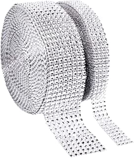 1 Roll 8 Row 10 Yard and 1 Roll 4 Row 10 Yard Acrylic Rhinestone Diamond Ribbon for Wedding Cakes, Birthday Decorations, Baby Shower Events,Party Supplies, Arts and Crafts Projects (2 Rolls Silver)