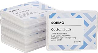 Amazon Brand - Solimo Cotton Buds Travel Pack - 24 Sticks (Pack of 5)