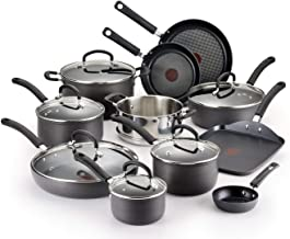 T-fal Hard Anodized Cookware Set, Nonstick Pots and Pans Set, 17 Piece, Thermo-Spot Heat Indicator, Gray (Renewed)
