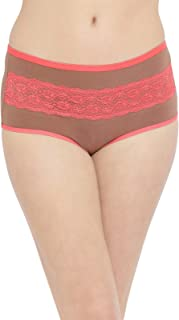 Clovia Women's High Waist Hipster Panty with Lace Insert in Brown- Cotton