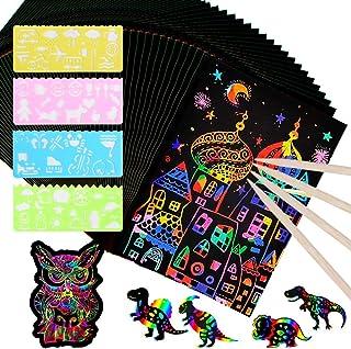 MEJOSER 60 Hojas de Scratch Paper Papel para Rascar 18,3 x 12,5cm con 6 Lápices y 4 Plantillas Dibujos Magicos Juego de Dibujar Niños Manualidades Escribir