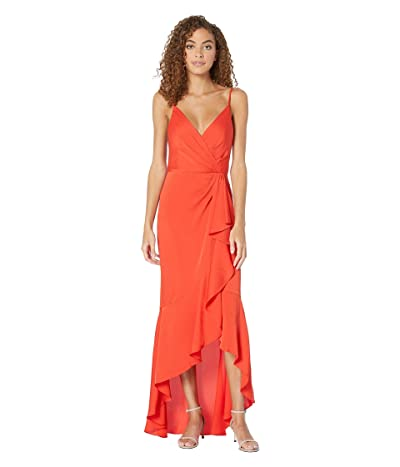 BCBGMAXAZRIA High-Low Faux Wrap Gown (Bright Red) Women