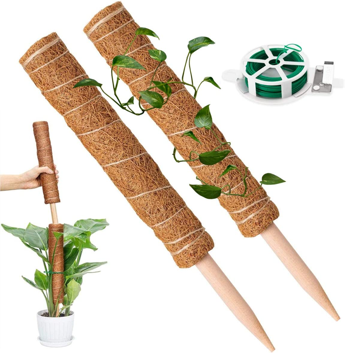 KLATIE 34 Inch Moss Pole, Coir Totem Poles - 2 Packs 17 Inch Coir Poles for Climbing Plant Support with 164 Feet Garden Twist Tie for Moss Monstera and Potted Plants to Grow Upwards…