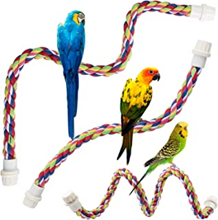 Petsvv 3 Pack Bird Perch, Comfy Rope Bungee Bird Toy