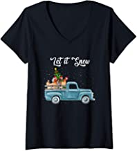Womens Let it snow V-Neck T-Shirt