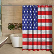 USA Waterproof and colorful shower curtain Fourth of July Independence Day Burlap Looking Retro Vintage Country Pastel Color Polyester shower curtain bath shower W70 x L84 Inch Blue Red White