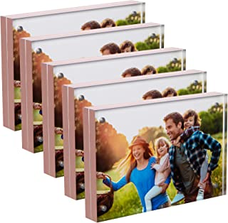 SimbaLux Magnetic Acrylic Picture Photo Frame 4x6 inches 20mm Thick (5 Pack), Clear Glass Like with Rose Gold Edge Trim, Double Sided Frameless Desktop Floating Display, Free Standing, Easy to Change