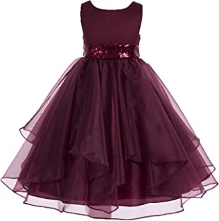 64d793086eb ekidsbridal Asymmetric Ruffled Organza Sequin Flower Girl Dress Princess  Dresses 012S