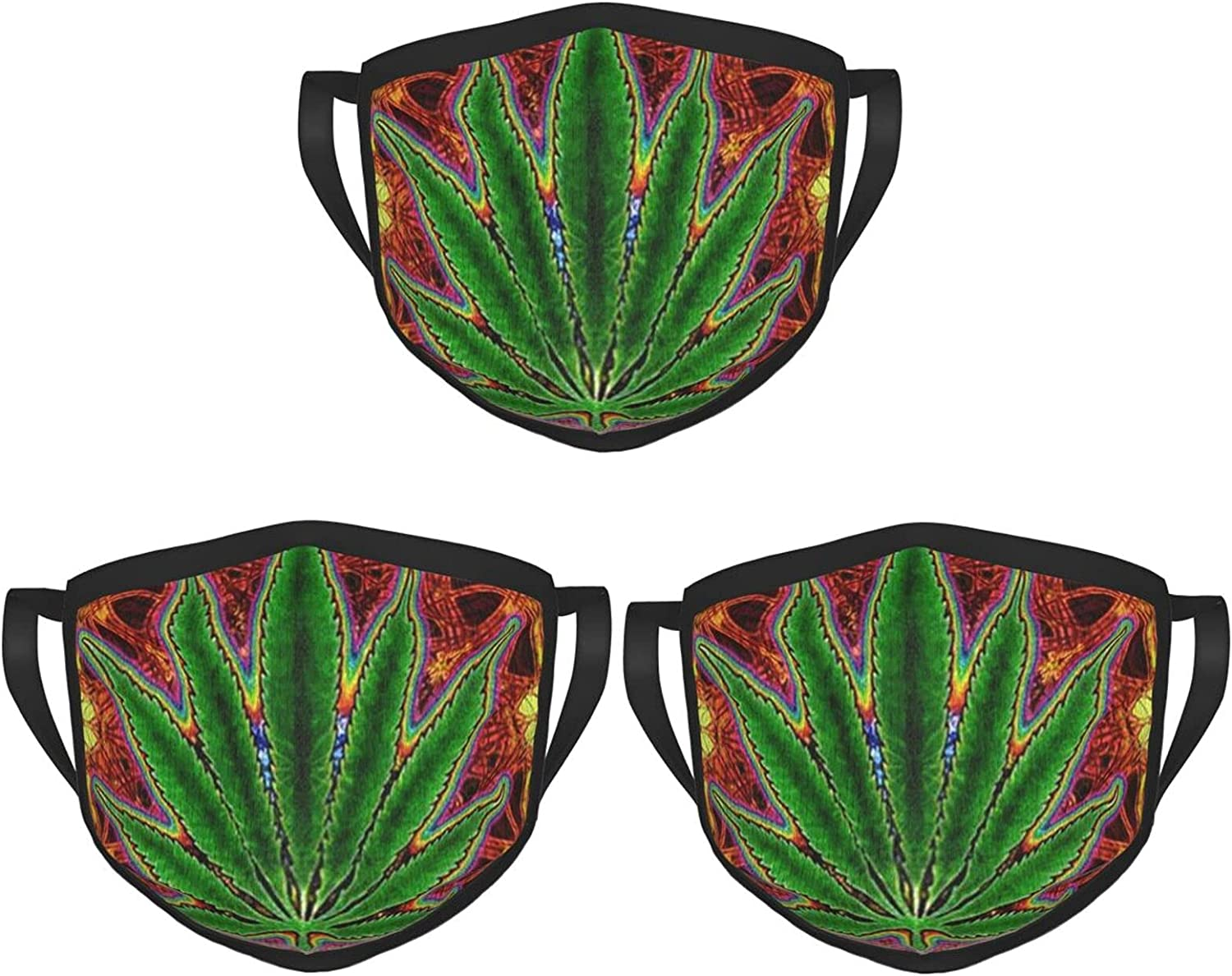 Balaclava Earmuffs Cannabis Trippy Psychedelic Stoner Face Mouth Cover Mask Reusable Washable Scarf Towel Cover Headwrap