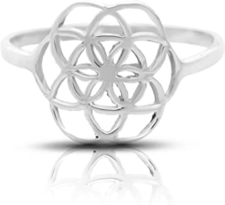Seed of Life Ring Sterling Silver 925 Sizes US 6 7 8 9 Sacred Geometry Flower of Life Yoga Jewelry