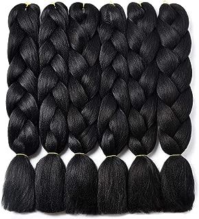 Kanekalon Braiding Hair,High Temperature Fiber Synthetic Hair Extensions for Braiding Crochet Twist Box Braids 24Inch 6 Packs Black 1B Jumbo Braiding Hair