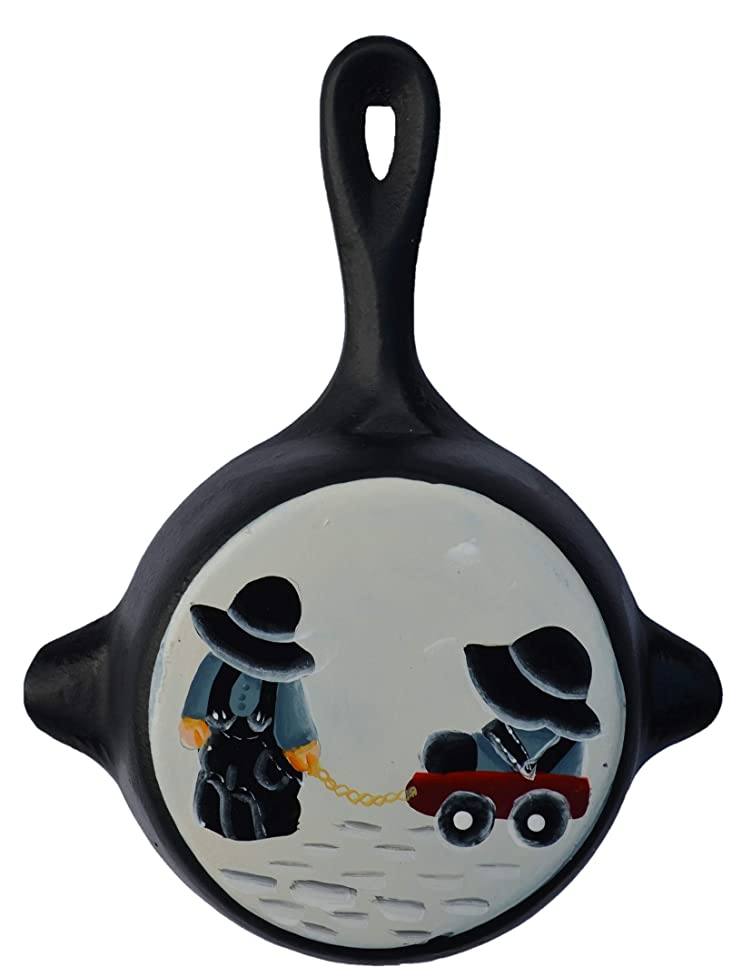 Black Iron Metal Skillet Wall Hanger Ashtray Miniture Decoration 4 7/8 X 6 1/4 X 7/8 Inch Bottom Painted with Amish Kids Playing with a red Wagon